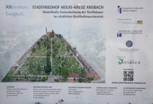 Bautafel Sanierung Stadtfriedhof Ansbach. Foto: Alexander Biernoth